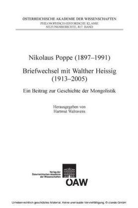 Nikolaus Poppe (1897-1991) - Briefwechsel mit Walther Heissig (1913-2005)