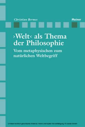 ¿Welt als Thema der Philosophie