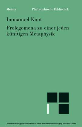 Prolegomena zu einer jeden künftigen Metaphysik, die als Wissenschaft wird auftreten können