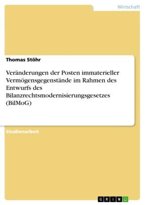 Veränderungen der Posten immaterieller Vermögensgegenstände im Rahmen des Entwurfs des Bilanzrechtsmodernisierungsgesetzes (BilMoG)