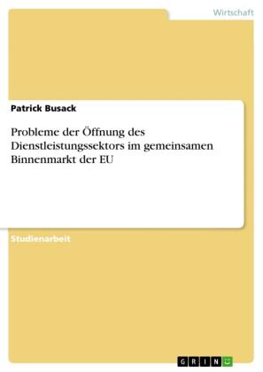 Probleme der Öffnung des Dienstleistungssektors im gemeinsamen Binnenmarkt der EU