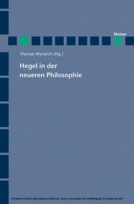 Hegel in der neueren Philosophie