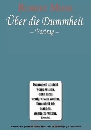 Robert Musil - Über die Dummheit