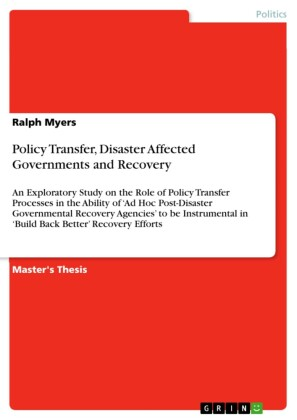 Policy Transfer, Disaster Affected Governments and Recovery