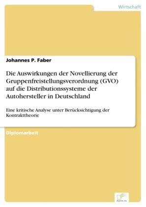 Die Auswirkungen der Novellierung der Gruppenfreistellungsverordnung (GVO) auf die Distributionssysteme der Autohersteller in Deutschland