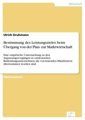 Bestimmung des Leistungszieles beim Übergang von der Plan- zur Marktwirtschaft