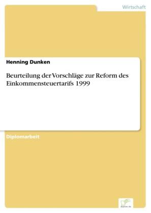 Beurteilung der Vorschläge zur Reform des Einkommensteuertarifs 1999