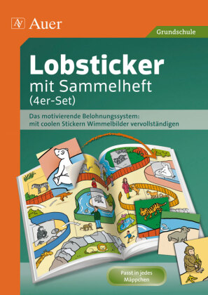 Lobsticker mit Sammelheft (4er-Set)