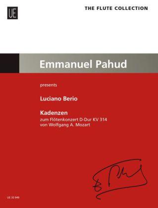 Kadenzen zum Flötenkonzert von Wolfgang A. Mozart D-Dur KV 314 für Flöte