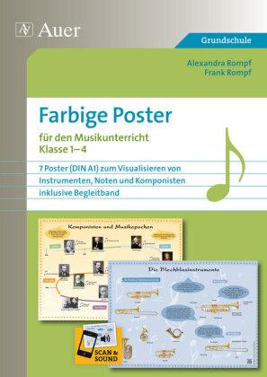 Farbige Poster für den Musikunterricht Klasse 1-4, 7 Poster