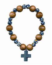 Rosenkranzarmband, Holzperlen rund, blau