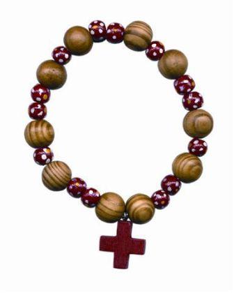 Rosenkranzarmband, Holzperlen rund, rot