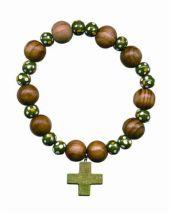 Rosenkranzarmband, Holzperlen rund, grün