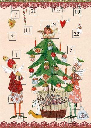 """Adventskalender-Doppelkarte """"2 Engel mit Weihnachtsbaum"""""""