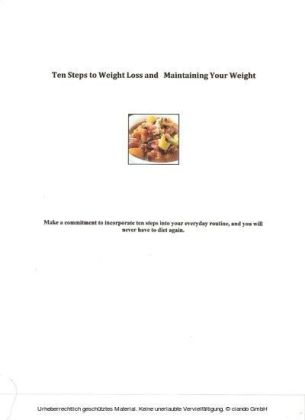 Ten Steps to Weight Loss and Maintaining Your Weight