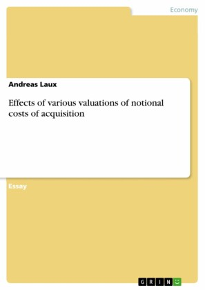 Effects of various valuations of notional costs of acquisition