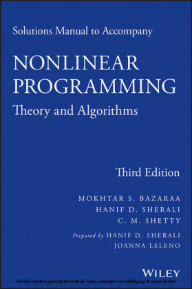 Solutions Manual to accompany Nonlinear Programming,