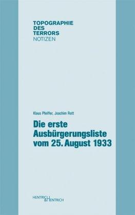 Die erste Ausbürgerungsliste vom 25. August 1933