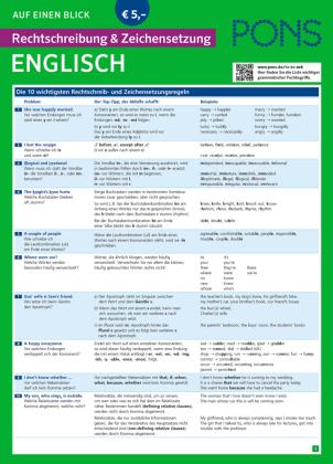 PONS Rechtschreibung und Zeichensetzung auf einen Blick, Englisch