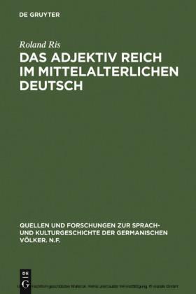 Das Adjektiv reich im mittelalterlichen Deutsch
