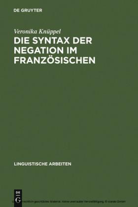 Die Syntax der Negation im Französischen