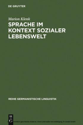 Sprache im Kontext sozialer Lebenswelt
