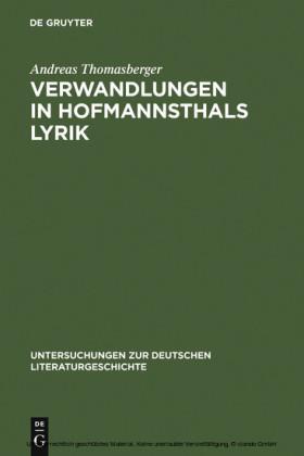 Verwandlungen in Hofmannsthals Lyrik