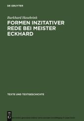 Formen inzitativer Rede bei Meister Eckhard