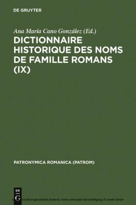 Dictionnaire historique des noms de famille romans (IX)