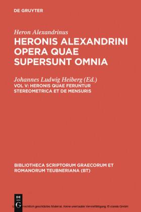 Heronis quae feruntur stereometrica et de mensuris
