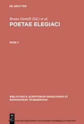 Poetae elegiaci. Pars II