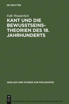 Kant und die Bewußtseinstheorien des 18. Jahrhunderts