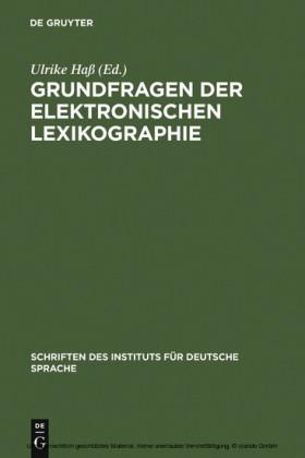 Grundfragen der elektronischen Lexikographie