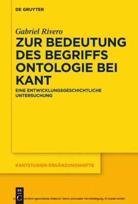 Zur Bedeutung des Begriffs Ontologie bei Kant