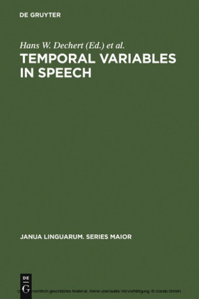 Temporal Variables in Speech