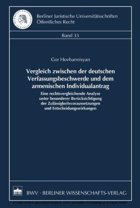Vergleich zwischen der deutschen Verfassungsbeschwerde und dem armenischen Individualantrag