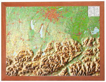 Bayerisches Oberland, Reliefkarte, Klein, mit Holzrahmen