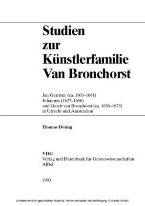 Studien zur Künstlerfamilie Van Bronchorst