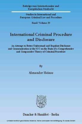 International Criminal Procedure and Disclosure.