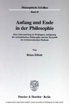 Anfang und Ende in der Philosophie.