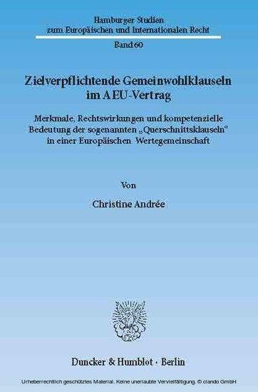 Zielverpflichtende Gemeinwohlklauseln Im Aeu Vertrag Ebook