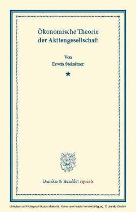 Ökonomische Theorie der Aktiengesellschaft.