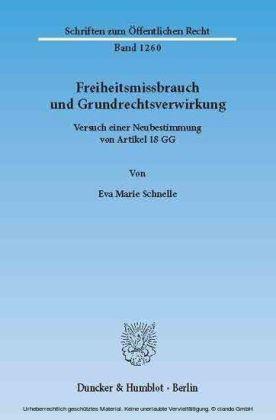 Freiheitsmissbrauch und Grundrechtsverwirkung.