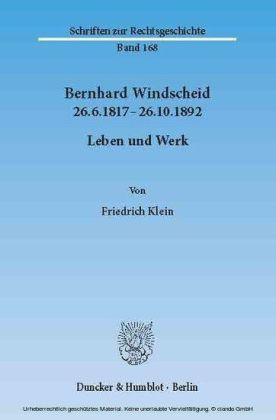 Bernhard Windscheid 26.6.1817-26.10.1892.