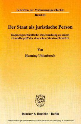 Der Staat als juristische Person.