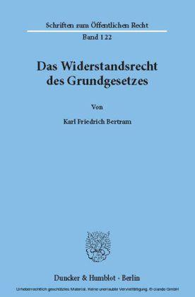 Das Widerstandsrecht des Grundgesetzes.