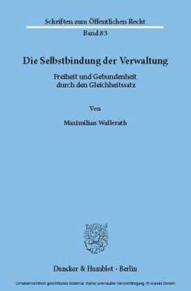 Die Selbstbindung der Verwaltung.