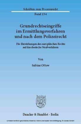 Grundrechtseingriffe im Ermittlungsverfahren und nach dem Polizeirecht.