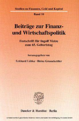 Beiträge zur Finanz- und Wirtschaftspolitik.