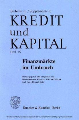 Finanzmärkte im Umbruch.